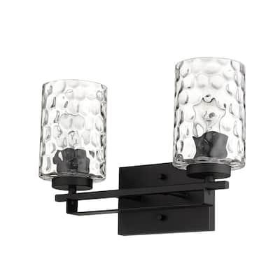 Livvy 15 in. 2-Light Matte Black Vanity Light