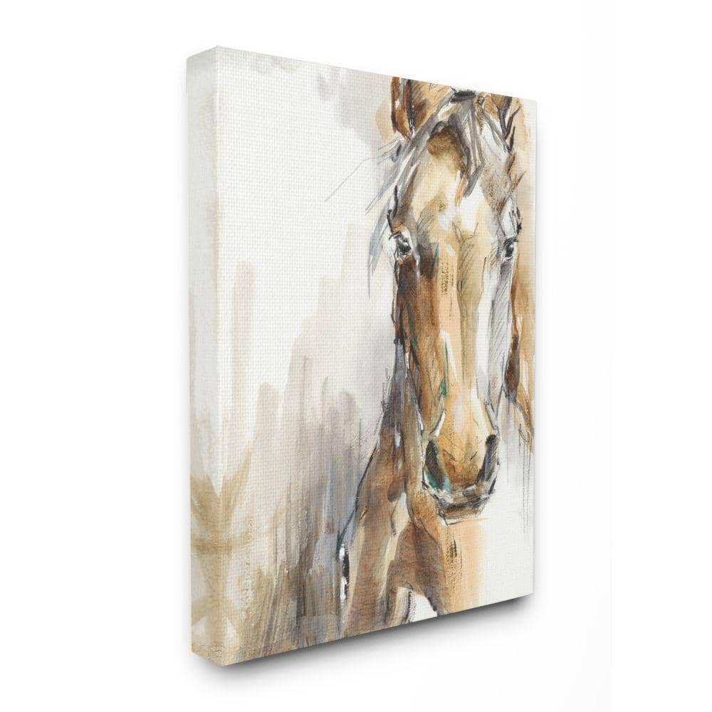 Stupell Industries Horse Portrait Orange Brown Animal Watercolor Painting By Ethan Harper Canvas Wall Art 30 In X 40 In Aap 497 Cn 30x40 The Home Depot