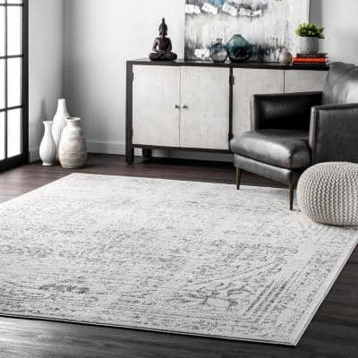 Arlena Distressed Persian Medallion Gray 8 ft. x 12 ft. Area Rug