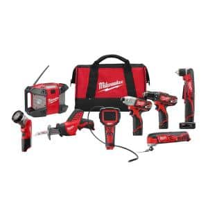 M12 12-Volt Lithium-Ion Cordless Combo Tool Kit (8-Tool) w/(2) 1.5Ah and (1) 3.0Ah Batteries, (1) Charger, (1) Tool Bag