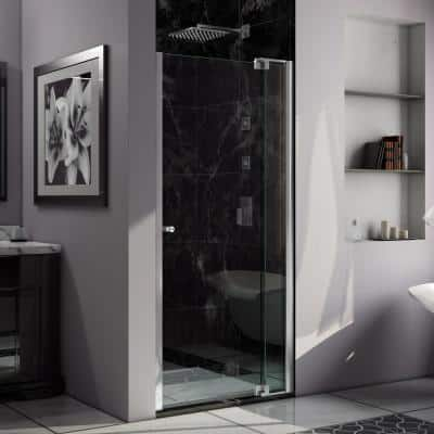 Allure 30 in. to 37 in. x 73 in. Semi-Frameless Pivot Shower Door in Chrome