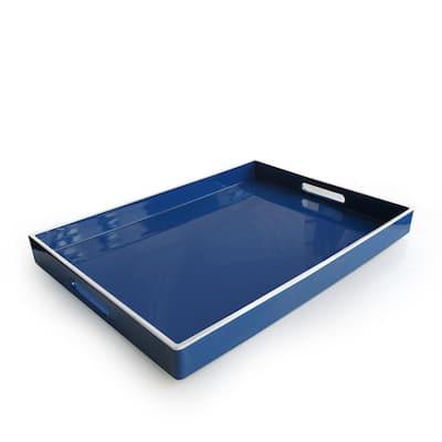 Olive Blue Polypropylene Line Rectangular Tray with White Rim