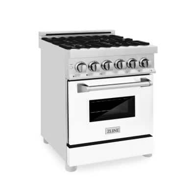 ZLINE 24 in. 2.8 cu. ft. Dual Fuel Range with Gas Stove and Electric Oven in Stainless Steel and White Matte Door