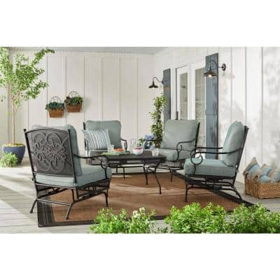 Amelia Springs 5-Piece Outdoor Patio Conversation Set with Spa Blue Cushions