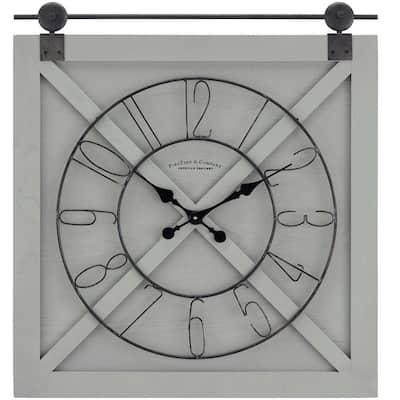 29 in. x 27 in. Gray Farmstead Barn Door Wall Clock