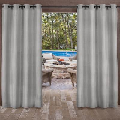 Biscayne Silver 54 in. W x 84 in L Grommet Top, Indoor/Outdoor Curtain Panel (Set of 2)
