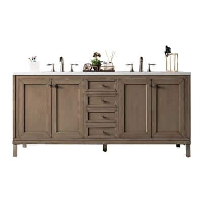 Chicago 72 in. W Double Bath Vanity in Whitewashed Walnut with Solid Surface Vanity Top in Arctic Fall with White Basin