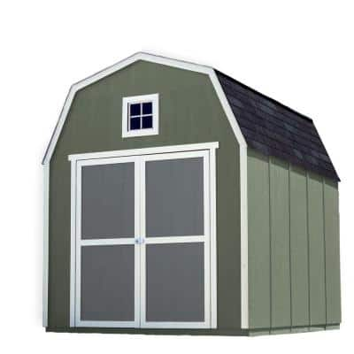 Installed Montana 8 ft. x 10 ft. Wood Storage Shed with Black Onyx Shingles