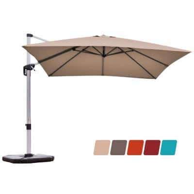10 ft. Aluminum Cantilever Square 360-Degrees Tilt Patio Umbrella in Tan