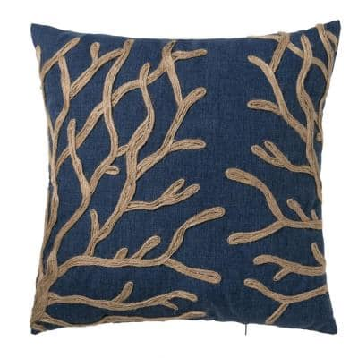 Oceantex Deep Marine Coral Outdoor Square Throw Pillow (2-Pack)
