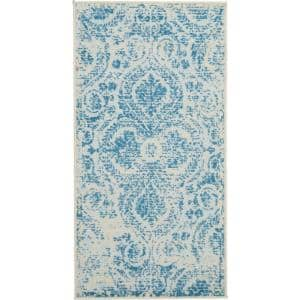Jubilant Teal Blue 2 ft. x 4 ft. Moroccan Farmhouse Area Rug