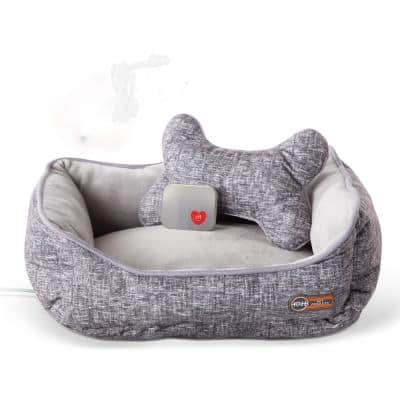 13 in. x 16 in. 4-Watt Medium Breed Gray Mother's Heartbeat Heated Puppy Pet Bed with Bone Pillow