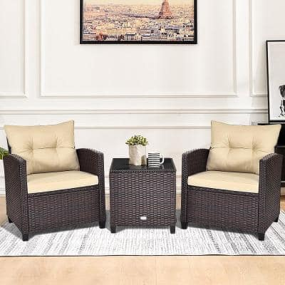 3-Piece Rattan Wicker Outdoor Patio Conversation Set with Wheat Cushions and Coffee Table