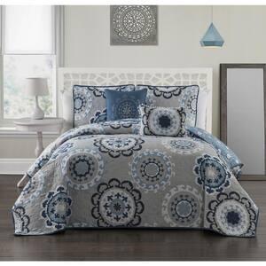 Elsa 5-Piece Blue Queen Quilt Set
