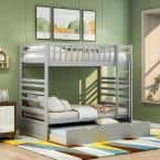 Gray Twin Over Twin Bunk Bed with Trundle and Ladder