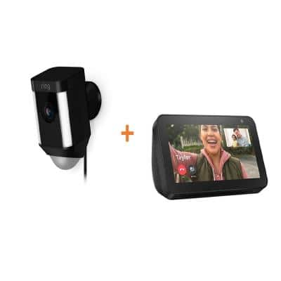 Wired Outdoor Rectangle Spotlight Security Camera in Black with Echo Show 5 in Charcoal