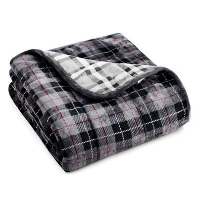 Light Grey Plaid Shiny Velvet to Shiny Velvet 50 in. x 60 in. x 10 lbs. Weighted Throw Blanket