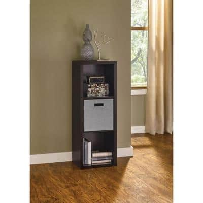 44 in. H x 16 in. W x 14 in. D Black Walnut Wood Look 3-Cube Storage Organizer