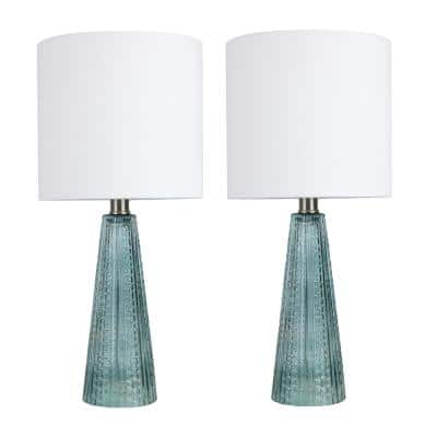 16 in. Clear Sapphire Blue Glass Table Lamps with Brushed Nickel Accents and Off-White Linen Drum Shades (2-Pack)
