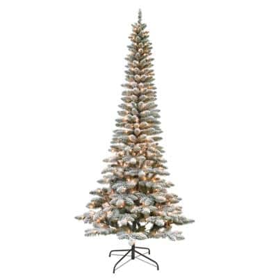 7.5 ft. Flocked Pencil Tree 250 UL Lights