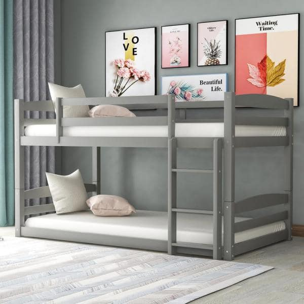 Harper & Bright Designs Gray High Quality Twin Over Twin Bunk Bed | The Home Depot