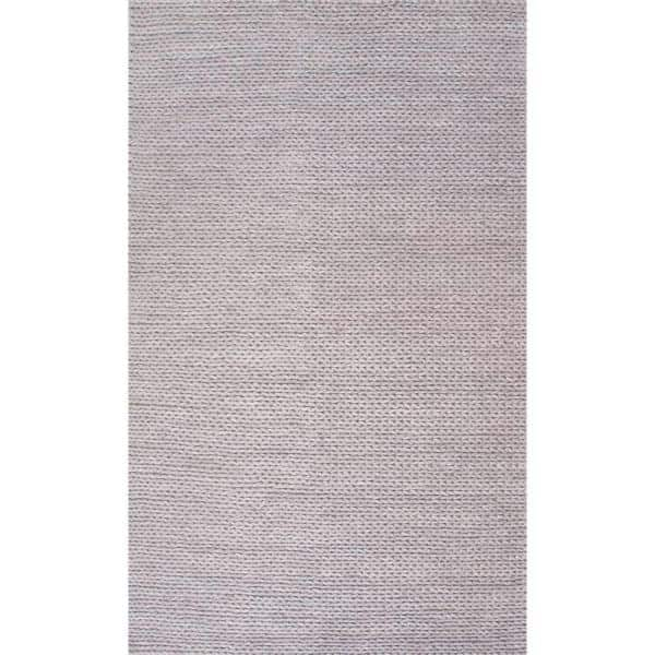 Nuloom Caryatid Chunky Woolen Cable Light Gray 4 Ft X 6 Ft Area Rug Cb01d 406 The Home Depot