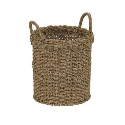 Small 11 in. Dia x 15 in. H Natural Seagrass Wicker Basket with Handles