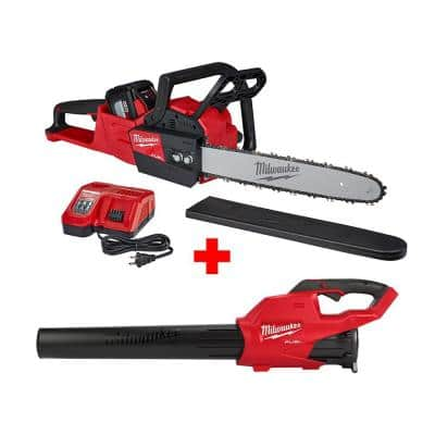 M18 FUEL 16 in. 18- volt Lithium-Ion Battery Brushless Cordless Chainsaw Kit with M18 GEN II FUEL Blower