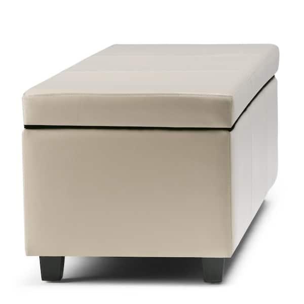 Max Lincoln 42 Inch Wide Contemporary, Cream Storage Ottoman