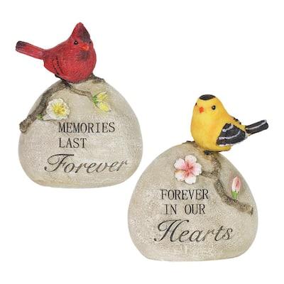 Memorial Rock with Birds Garden Statue (2-Pack)