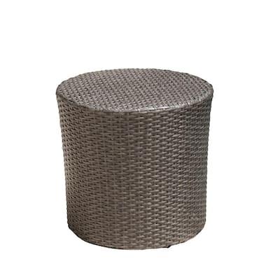 Jalen Grey Round Barrel Wicker Outdoor Side Table