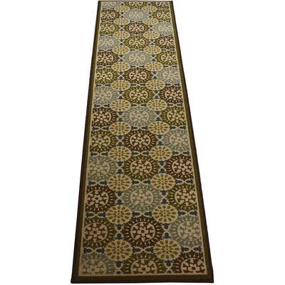Modern Abstract Geometric Motif Design Green 2' Width x 7' Length Slip Resistant Rubber Runner Rug