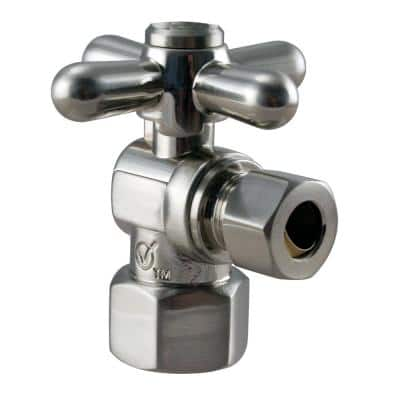 1 1/2 in. IPS x 3/8 in. O.D. Compression Outlet Angle Stop in Satin Nickel