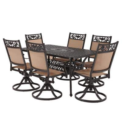 Classic Dark Brown 7-Piece Cast Aluminum Rectangle Outdoor Dining Set with Table and Swivel Dining Chairs
