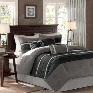 Teagan 7-Piece Black/Gray California King Comforter Set