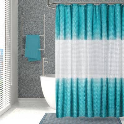 Mist 70 in. x 72 in. Liner Teal 3D Eco-Friendly Shower Curtain