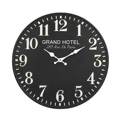 Embossed Numbered Round Black Metal Clock