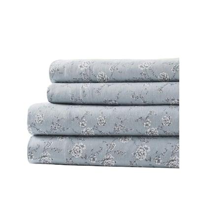 Marie Clarie Cotton Flannel Wallpaper Floral Queen Sheet Set