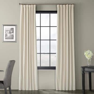 Neutral Ground Velvet Rod Pocket Blackout Curtain - 50 in. W x 84 in. L