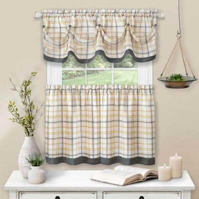 Tattersall Grey Polyester Light Filtering Rod Pocket Tier and Valance Curtain Set 58 in. W x 24 in. L