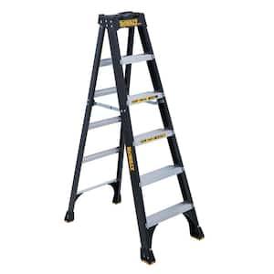 6 ft. Fiberglass Step Ladder, 10 ft. Reach Height, 300 lbs. Load Capacity, Type IA