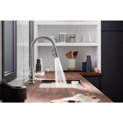 Artifacts Single-Handle Kitchen Sink Faucet with Konnect and Voice-Activation in Vibrant Stainless