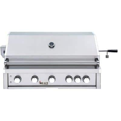 40 in. 5-Burner Liquid Built-In Propane Gas Grill in Stainless Steel with 1 Infrared Burner