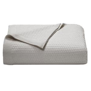 Baird Pastel Gray Solid Cotton Full/Queen Knitted Blanket