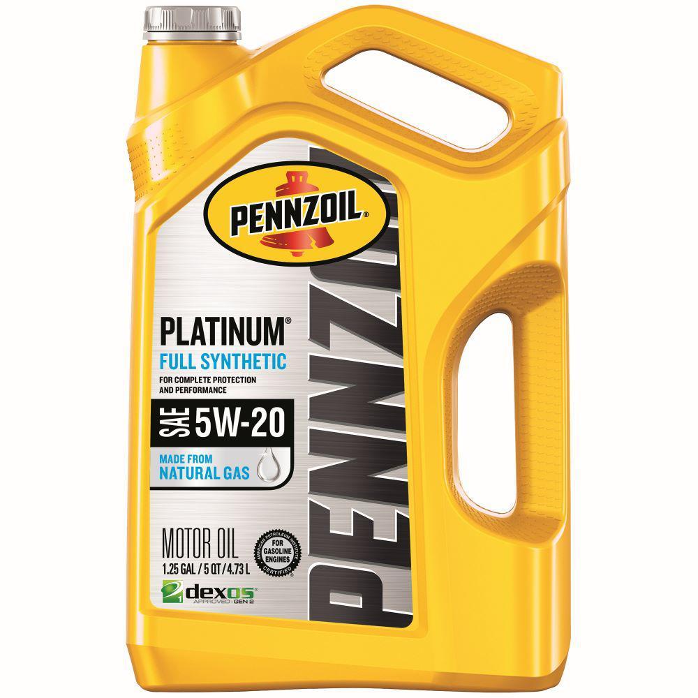Pennzoil Platinum SAE 5W-20 Full Synthetic Motor Oil - 5 Qt.
