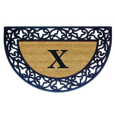 Acanthus Border 22 in. x 36 in. Rubber Coir Half Round Monogrammed X Door Mat