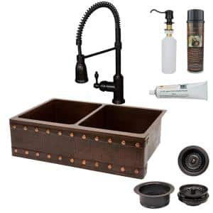 All-in-One Undermount Copper 33 in. 0-Hole 50/50 Double Bowl Kitchen Sink with Barrel Strap Design in Oil Rubbed Bronze