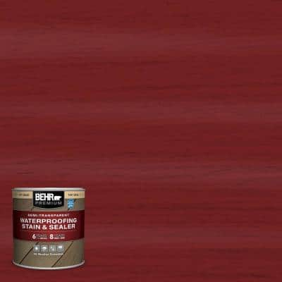8 oz. #ST-112 Barn Red Semi-Transparent Waterproofing Exterior Wood Stain and Sealer Sample