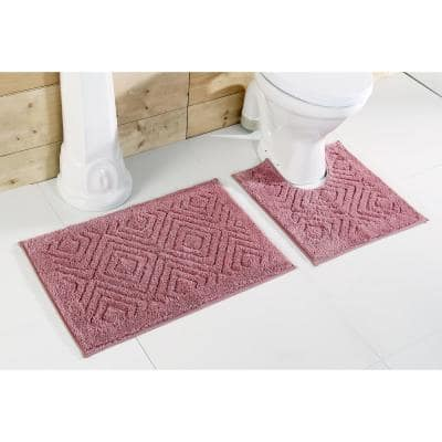 Trier Collection 2-Piece Rose 100% Cotton Diamond Pattern Bath Rug Set - 20 in. x 30 in. and 20 in. x 20 in.