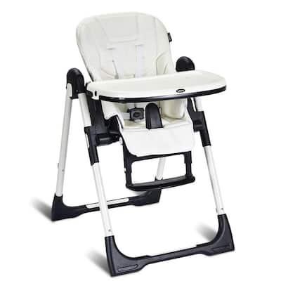 White Metal Frame Multiple Adjustable Folding Chair with Backrest
